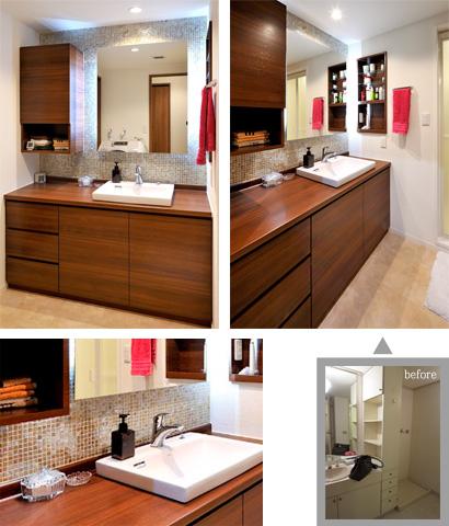 ゆめや施工例【M047芦屋市T邸】洗面室 造作洗面化粧台