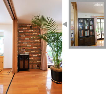 ゆめや施工例【K032神戸市T邸】リビング壁面ブリックタイル